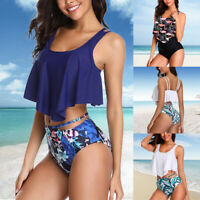 Womens High Waist Push Up Padded Bra Bikini Set Swimsuit Bathing Suit Swimwear