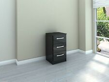 Birlea Lynx 3 Drawer Bedside Cabinet - Black Gloss