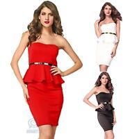 Sz 10 12 14 Sexy Strapless Midi Bodycon Formal Evening Prom Wedding Party Dress