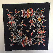 """Painted Fabric Tablecloth Wall Hanging 36.5"""" x 35"""" Dark Blue Butterfly Flowers"""