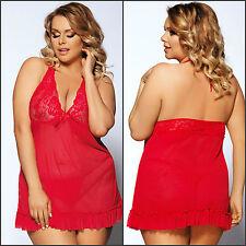 AU Plus Size 2PC Elegant Red Floral Lace Mesh Halter Neck Babydoll Lingerie Set
