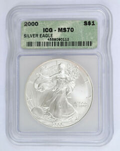 2000 American Eagle One Dollar ICG MS70 Silver Coin - No Reserve!