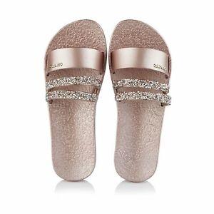 Coloko Moonbeam Metallic Rose Gold Pink Jewelled Sliders Slides