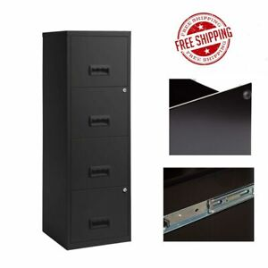 A4 4 Drawer Maxi Tall Filing Cabinet All Black Maxi Drawer STEEL Pierre Henry