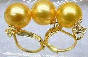 natural round 16mm south sea golden shell pearl earrings pendant 14K gold clasp