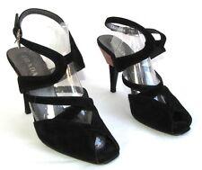 PRADA - Sandales talons 10 cm tout cuir velours noir rose 36 it - TRES BON ETAT