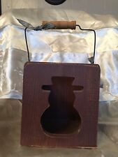 Wooden Snowman Brown Votive Candle Holder, Good Condition