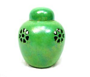 Antique Ruskin High Lustre Green Apple Miniature Pot Pourri Vase / Lidded Jar