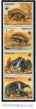 PARAGUAY Sc 2139 & 2252 NH - 2 WWF STRIPS FROM 1985 & 1988 - ANIMALS