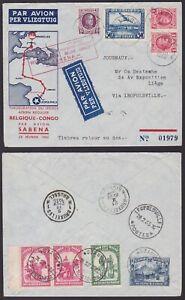 Belgium / Congo 1935 SABENA Airmail cover LIEGE - LEOPOLDVILLE - LIEGE.....A6828