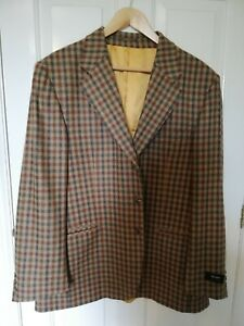 """Johnstons of Elgin - Men's Pure Cashmere Checked Blazer Size 42"""", New and Unworn"""