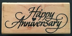 Happy Anniversary Special Occasion Word Phrase Wood Rubber Stamp