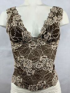 SEQUINNED LACE TOP CAMI WAIST LENGTH BLOUSE IN BROWN BEIGE COLOR HAND BEADED.