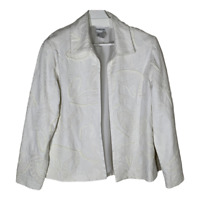 Chicos 1 Womens Blazer Jacket Coat Open Front Collar White Ladies Size Medium