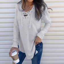 Women Casual V Neck Bandage Long Sleeve Baggy T-Shirt Tops Fall Spring Blouse CA