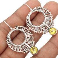 Two Tone - Citrine 925 Sterling Silver Earrings Jewelry AE13150