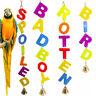 EG_ Letter Bell Parrot Bird Parakeet Bite Climbing Hanging Toy Pet Cage Decor Ho