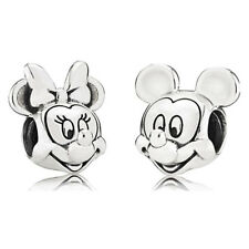Mickey Minnie Disney Silver Charm fits major European brand bracelets + Pouch