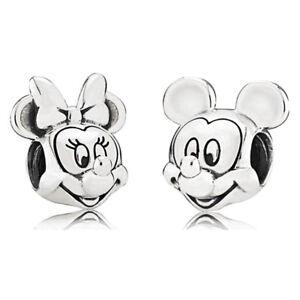 Mickey Minnie Disney Silver Charm fits major European brand bracelets + Pouch