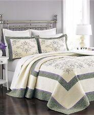 New Martha Stewart Valencia Eyelet Cotton Floral FULL  Bedspread Bedding $200