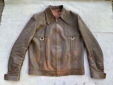 vintage leather bomber jacket M 40-42 1960s 1970s Hedi skinny punk grunge brown