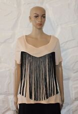 Creamy ATMOSPHERE Tassel Short Sleeve Hip Length Casual Top Blouse Size 12 / 40