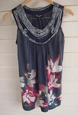 Threadz Women's Blue Grey White Green & Pink Singlet Top - Size S