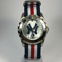 Game Time Mens MLB Silver Japan Movement Quartz Analog Wristwatch Nylon Strap