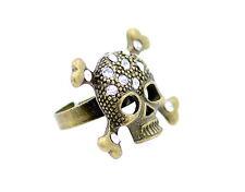 Ajustable oro vintage cristal tibias cruzadas punk cráneo anillo ciclista goth
