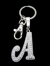 A-Z INITIAL LETTER ALPHABET KEY CHAIN RING HOLDER CLEAR CRYSTALS SILVER TONE