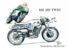 Greetings card MZ 250 Twin Classic Racer door John Hancox