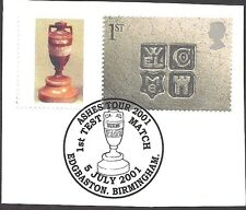 GREAT BRITAIN 2001 CRICKET ASHES URN OCCASIONS SMILERS Stamp USED on piece