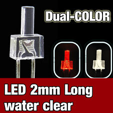 738/25# LED 2mm dual color red and  warm white  -  25 pcs - water clear