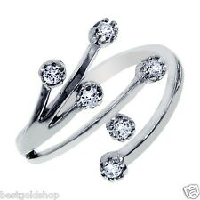 925 Sterling Silver One Size Fits All Stylish Tree Branch Cz Toe Ring Real Solid