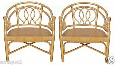 PAIR MCGUIRE STYLE LG SCALE WRAPPED BAMBOO RATTAN CLUB LOUNGE CHAIRS REGENCY