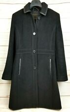 Coach Womens Black Wool Mohair Leather Trim Knee Length Button Front Pea Coat XS
