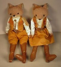 Cracker Barrel Mr Mrs Fox 2 Sitter Dolls stuffed animals Equestrian Western toys