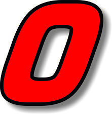 Red 3 inch race numbers with black border number sticker /vinyl/graphic