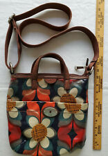 Fossil Key Per Crossbody Bag Coated Canvas Floral Tote Leather Trim EUC