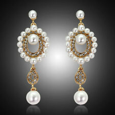 Fashion Women Rhinestone Pearl Long Wedding Bridal Party Drop Stud Earrings