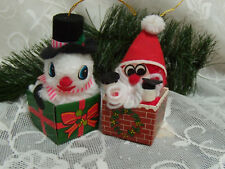 VINTAGE CHRISTMAS ORNAMENT FURRY  SNOWMAN AND FURRY SANTA IN A BOX SO CUTE