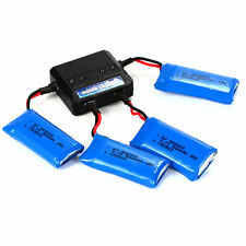 Charger + 4Pcs 3.7V 500mAh 25C Lipo Battery for Hubsan X4 H107D H107C BC513