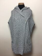 Aran Crafts 100% Merino Grey Chunky Cable Knit Hooded Cardigan Poncho  S/M 12 14