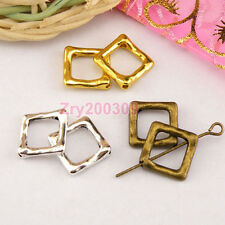 20Pcs Tibetan Silver,Antiqued Gold,Bronze Square Bead Frame Jewelry DIY M1351