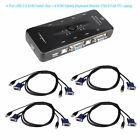 USB 4 Port Monitor VGA SVGA KVM Switch Box + 4 Cables for PC Keyboard Mouse Kit
