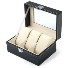 Bracelet Case Holder Necklace Organizer 3 Slots Leather Watch Box Jewelry