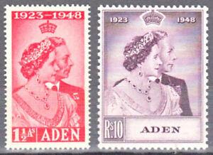 ADEN 1949 KGVI SILVER WEDDING SCOTT 30-31 MNH
