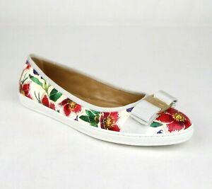 Salvatore Ferragamo Women's Rufina White/Multi-color Flats with Bow 0685583