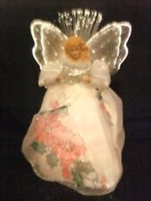 Fiber Optic Angel 10 inch 2001 white with red poinsettias multi color changes