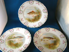 "Antique Z S & Co Bavaria FISH PLATE 7 1/4"" Diameter Set of 3 @25"